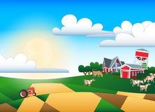 Karikaturillustration des Ackerlands mit Gebäuden und Menge Stockbilder