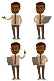 Karikaturillustration des Afroamerikanergeschäftsmannes Stockfoto