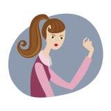 Karikaturillustration des Gestikulierens der jungen Frau Stockbilder
