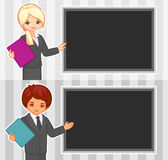 Karikaturillustration des Mädchens und des Jungen im Büro Stockfotos