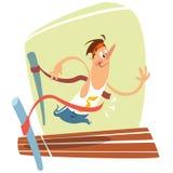 Karikaturillustration des netten lächelnden Läufers am Vollenden stock abbildung