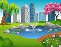 Karikaturillustration des Stadt-Parks und der Wolkenkratzer
