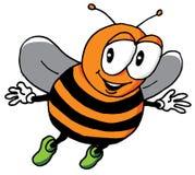 Karikaturillustration einer glücklichen Biene Stockfotografie