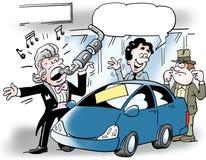 Karikaturillustration eines Autoverkäufers, der in einen Selbstauspuff singt Lizenzfreies Stockbild