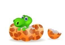 Karikaturillustration eines Babydinosaurierausbrütens Lizenzfreies Stockfoto