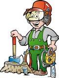 Karikaturillustration eines glücklichen Arbeitsholzfällers oder des Holzfällers Lizenzfreies Stockfoto
