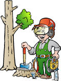 Karikaturillustration eines glücklichen Arbeitsholzfällers oder des Holzfällers Stockbild