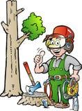 Karikaturillustration eines glücklichen Arbeitsholzfällers oder des Holzfällers, die Daumen aufgeben Lizenzfreie Stockbilder