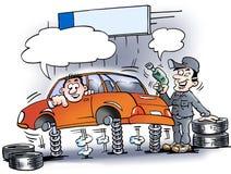 Karikaturillustration eines Mechanikers der, der die Stoßdämpfer prüft Stockbilder