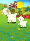 Karikaturillustration mit Schaffamilie auf dem Bauernhof Stockfotografie