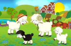 Karikaturillustration mit Schaffamilie auf dem Bauernhof Stockbild
