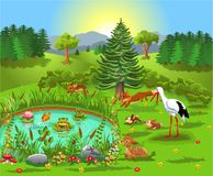 Karikaturillustration von den wilden Tieren, die im Wald leben und zum Teich kommen lizenzfreie abbildung