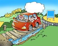 Karikaturillustration von a-Familie in einem kleinen Auto auf einem Antrieb und haben sich verirrt Stockfoto