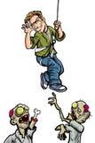 Karikaturillustration von höhnischen Zombies des Mannes Lizenzfreie Stockfotografie