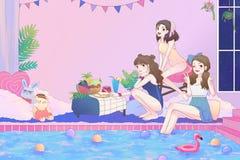 Karikaturillustration von 3 netten asiatischen jugendlich Mädchen, die Spaß haben und von Pool-Party im Großen Badezimmer mit Bad Lizenzfreie Stockfotografie