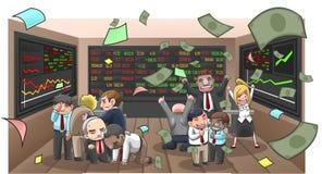 Karikaturillustration von Wirtschaftlern, von Vermittler und von Investor Lizenzfreies Stockbild