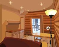 Karikaturinnenraum in einem Holzhaus Stockbilder