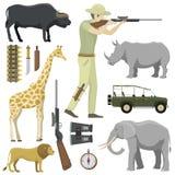 Karikaturjäger, der Gewehrafrika-Schrotflinte mit Kompass, Gewehr, Ferngläser und Jeepauto und Forscherverfolgungsjagd zielt lizenzfreie abbildung