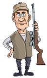 Karikaturjäger, der seine Gewehr anhält Lizenzfreie Stockfotografie