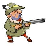 Karikaturjäger in einem Hut mit einer Feder, das Gewehr halten Stockfotos