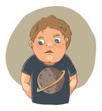 Karikaturjunge beschämt im netten T-Shirt Stockbild