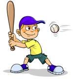 Karikaturjunge, der Baseball spielt stock abbildung
