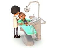 Karikaturjunge, der eine zahnmedizinische Prüfung erhält. Stockfoto