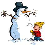 Karikaturjunge, der einen Schneemann aufbaut Lizenzfreies Stockbild