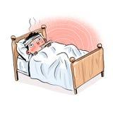 Karikaturjunge, der krank ist und in der Bettillustration liegt, die auf weißem Hintergrund lokalisiert wird stock abbildung