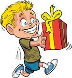 Karikaturjunge, der mit einem eingewickelten Geschenk läuft Lizenzfreie Stockfotos