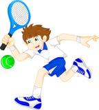 Karikaturjunge, der Tennis spielt Lizenzfreie Stockbilder