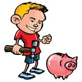 Karikaturjunge mit einer piggy Querneigung Stockbild