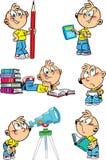 Karikaturjunge mit Schulfächern Stockfotos