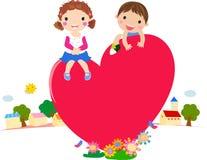 Karikaturjunge und -mädchen in der Liebe vektor abbildung
