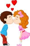 Karikaturjunge und -mädchen küssen Stockfotos
