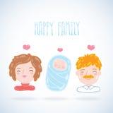 Karikaturjungefamilie. Mutter, Vater, Baby. Stockfoto