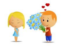 Karikaturjungen-Geschenkblumen zum Mädchen lizenzfreie abbildung