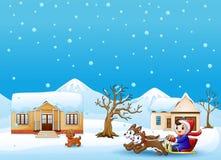Karikaturjungen-Reitschlitten auf dem schneienden Dorf zog durch zwei Hunde vektor abbildung