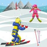 Karikaturjungen-Unterrichtsmädchen, wie man Ski fährt stock abbildung