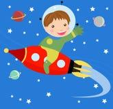 Karikaturjungenfliege, die rote schnelle Rakete reitet. Stockbilder