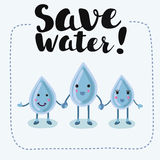 Karikaturjungenmädchen-Liebeswasser, spart das Wasser, rettet die Welt Lizenzfreies Stockfoto