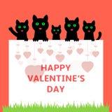 Karikaturkätzchen, die hinter Papier sich verstecken Glückliche Valentinsgrußtagesgrußkarte stock abbildung