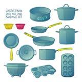 Karikaturküchengeräte für das Backen Ein Satz Teller für das Backen: Bratpfanne, Kasserolle, ein Sieb Formen für kleine Kuchen Lizenzfreie Stockfotos