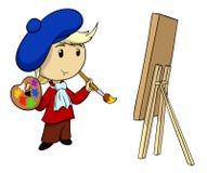 Karikaturkünstler mit Palette und Pinsel Stockfotografie