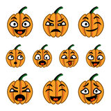 Karikaturkürbis-Ikonensatz Halloweens netter Stockfotos