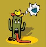 Karikaturkaktus schwach vom Durst in der Wüste und stock abbildung