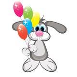 Karikaturkaninchen mit bunten Ballonen Stockfotografie