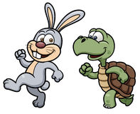 Karikaturkaninchen und -schildkröte Stockbild