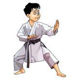 Karikaturkaratejunge kleidete in einem Kimono an, der im Gestell steht Stockbild