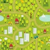Karikaturkarte der Kleinstadt und der Landschaft. Stockfoto